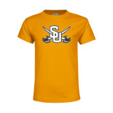 Youth Gold T Shirt-Interlocking SU w/Sabers