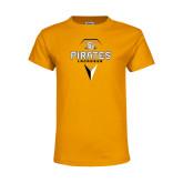 Youth Gold T Shirt-Geometric Lacrosse Head