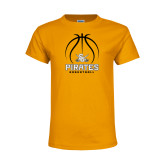 Youth Gold T Shirt-Pirates Basketball Stacked