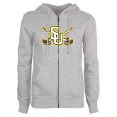 ENZA Ladies Grey Fleece Full Zip Hoodie-Interlocking SU w/Sabers