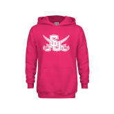 Youth Raspberry Fleece Hoodie-Interlocking SU w/Sabers