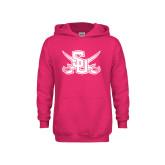 Youth Raspberry Fleece Hoodie-Interlocking SU w/Sabers