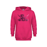 Youth Raspberry Fleece Hoodie-Interlocking SU w/Sabers Foil