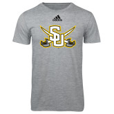 Adidas Sport Grey Logo T Shirt-Interlocking SU w/Sabers