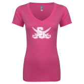 Next Level Ladies Junior Fit Ideal V Pink Tee-Interlocking SU w/Sabers