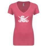 Next Level Ladies Vintage Pink Tri Blend V-Neck Tee-Interlocking SU w/Sabers