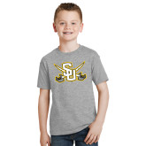 Youth Grey T-Shirt-Interlocking SU w/Sabers
