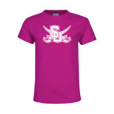 Youth Fuchsia T Shirt-Interlocking SU w/Sabers