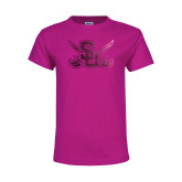 Youth Cyber Pink T Shirt-Interlocking SU w/Sabers Foil