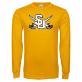 Gold Long Sleeve T Shirt-Interlocking SU w/Sabers