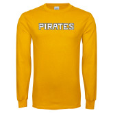 Gold Long Sleeve T Shirt-Pirates Word Mark