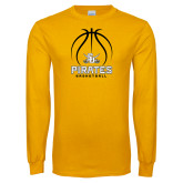 Gold Long Sleeve T Shirt-Pirates Basketball Stacked