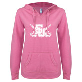 ENZA Ladies Hot Pink V-Notch Raw Edge Fleece Hoodie-Interlocking SU w/Sabers