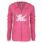 ENZA Ladies Hot Pink Light Weight Fleece Full Zip Hoodie-Interlocking SU w/Sabers