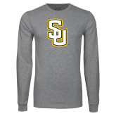 Grey Long Sleeve T Shirt-Interlocking SU