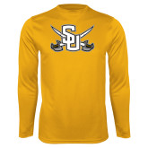 Performance Gold Longsleeve Shirt-Interlocking SU w/Sabers
