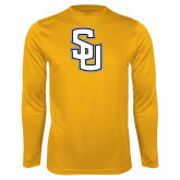 Performance Gold Longsleeve Shirt-Interlocking SU