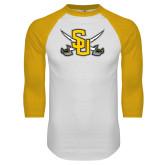 White/Gold Raglan Baseball T-Shirt-Interlocking SU w/Sabers