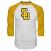 White/Gold Raglan Baseball T-Shirt-Interlocking SU