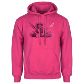 Fuchsia Fleece Hoodie-Interlocking SU w/Sabers Foil