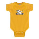 Gold Infant Onesie-Interlocking SU w/Sabers