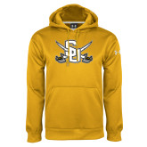 Under Armour Gold Performance Sweats Team Hoodie-Interlocking SU w/Sabers