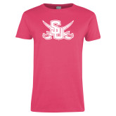 Ladies Fuchsia T Shirt-Interlocking SU w/Sabers