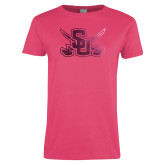 Ladies Fuchsia T Shirt-Interlocking SU w/Sabers Foil