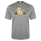 Performance Grey Heather Contender Tee-Interlocking SU w/Sabers