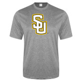 Performance Grey Heather Contender Tee-Interlocking SU