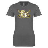 Ladies SoftStyle Junior Fitted Charcoal Tee-Interlocking SU w/Sabers