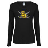 Ladies Black Long Sleeve V Neck T Shirt-Interlocking SU w/Sabers