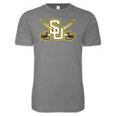 Next Level SoftStyle Heather Grey T Shirt-Interlocking SU w/Sabers
