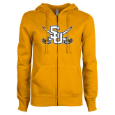 ENZA Ladies Gold Fleece Full Zip Hoodie-Interlocking SU w/Sabers