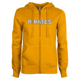 ENZA Ladies Gold Fleece Full Zip Hoodie-Pirates Word Mark