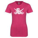 Ladies SoftStyle Junior Fitted Fuchsia Tee-Interlocking SU w/Sabers