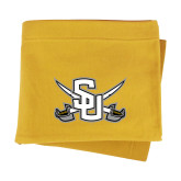 Gold Sweatshirt Blanket-Interlocking SU w/Sabers