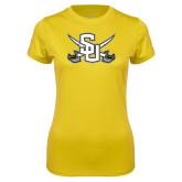 Ladies Syntrel Performance Gold Tee-Interlocking SU w/Sabers