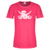 Ladies Performance Hot Pink Tee-Interlocking SU w/Sabers