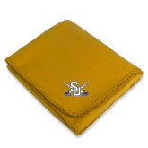 Gold Arctic Fleece Blanket-Interlocking SU w/Sabers