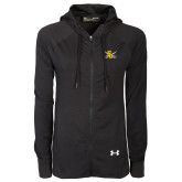 Ladies Under Armour Black Varsity Full Zip Hoodie-Interlocking SU w/Sabers