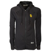 Ladies Under Armour Black Varsity Full Zip Hoodie-Interlocking SU