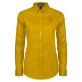Ladies Gold Twill Button Down Long Sleeve-Interlocking SU