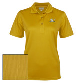 Ladies Gold Dry Mesh Polo-Interlocking SU w/Sabers