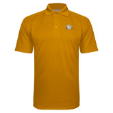 Gold Textured Saddle Shoulder Polo-Interlocking SU w/Sabers