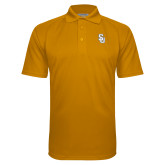 Gold Textured Saddle Shoulder Polo-Interlocking SU