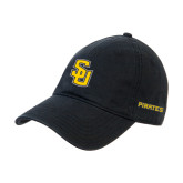 Black Twill Unstructured Low Profile Hat-Interlocking SU