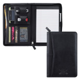 Pedova Black Jr. Zippered Padfolio-Interlocking SU w/Sabers Engrave