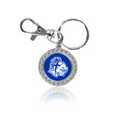 Crystal Studded Round Key Chain-Warrior Helmet