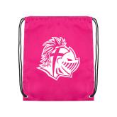 Pink Drawstring Backpack-Warrior Helmet